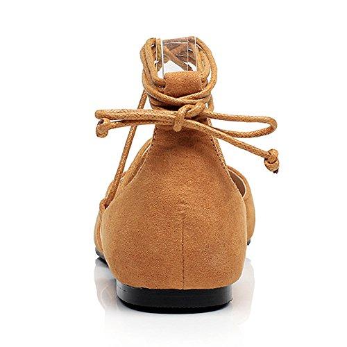 Pelle Marrone Jamron Piatto Croce Cordoncino Morbido Con Scamosciata Appuntito Donna Fantasia Sintetica Pumps Ballerine OqAqrgExn