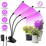 LED Grow Light, VOGEK Plant Growing Lamp 30W with 60 Full Spectrum Bulbs, Auto On & Off 3/6/12 Timer, 10 Dimmable Levels, 3-Head Adjustable Gooseneck 360 Degree for Indoor Seedling Blooming Fruiting