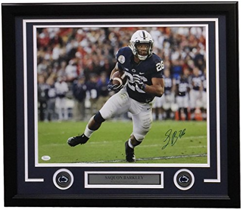 Rose State Penn Bowl (Saquon Barkley Signed Framed 16x20 Penn State Nittany Lions Rose Bowl Photo JSA)