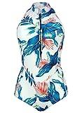 Futurino Women's Tropical Foliage Print Mock Neck Sleeveless One Piece Swimsuit