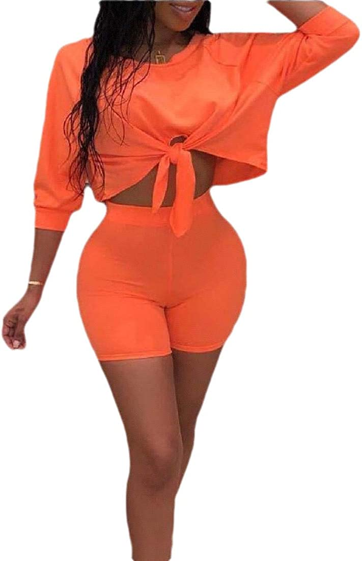 HTOOHTOOH Womens2 Piece Outfits Short Sleeve T-Shirts Tops and Shorts Set Clubwear