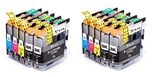 K-Ink Brother LC203 LC 203XL LC201 Compatible Replacement Ink Cartridges (10 Pack - 4 Black, 2 Cyan, 2 Magenta, Yellow)