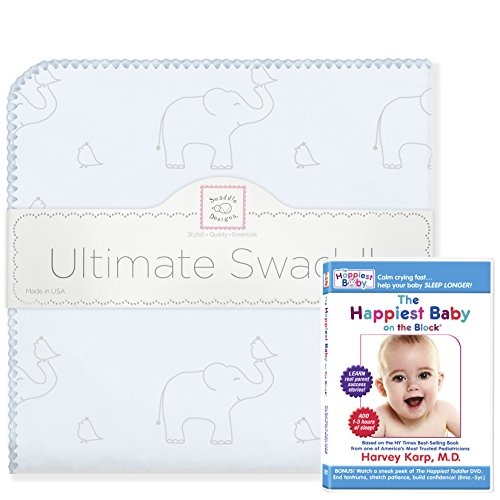 SwaddleDesigns Ultimate Swaddle Blanket, Made in USA Cotton Flannel Blanket + The Happiest Baby DVD Bundle, Sterling Deco Elephants on Sunwashed Blue ()