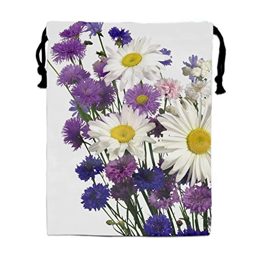 Daisies Cornflowers Carnations Bouquet White Party Supplies Favors Bags Drawstring Gifts Bags