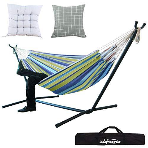 Zupapa Double Hammock with Stand Bonus 2 Cushions, Accommoda