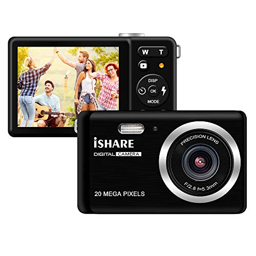 HD Digital Camera, Rechargeable Mini Digital Camera Camera with 2.8″ LCD/20MP/8X Digital Zoom Video Camera Kids Students Cameras,Indoor Outdoor for Adult Seniors Kids(Black)