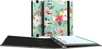 Grafoplás 88111934-Carpeta de anillas troqueladas A5, Diseño Noa, dibujo de flores, con 100 hojas de 90g
