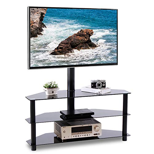 Rfiver Black Corner Floor TV Stand with Swivel Mount Bracket for 32 to 65 inch LED, LCD, OLED and Plasma Flat/Curved Screen TVs, 3-Tier Tempered Glass Shelves for Audio Video TW2002