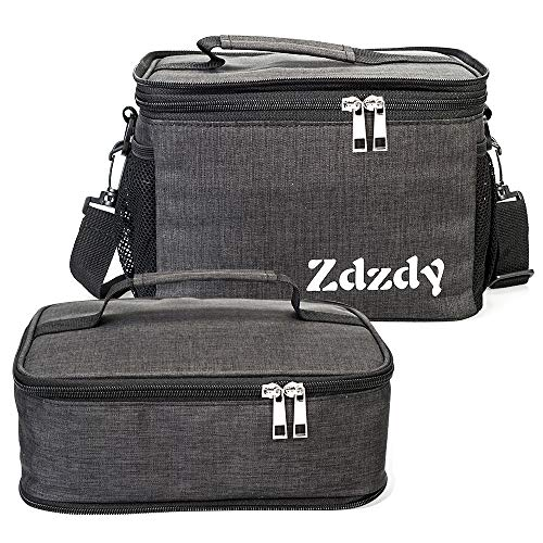 Zdzdy Adult Insulated Lunch Box for Men Women Reusable Lunch Bag Large Capacity Lunch Tote Waterproof Cooler Bag with Adjust Shoulder Strap For Office Work Picnic(Grey)