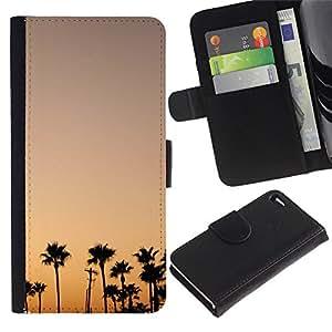 KLONGSHOP / Tirón de la caja Cartera de cuero con ranuras para tarjetas - Trees Sunset Sunrise Colorful Sky - Apple iPhone 4 / 4S