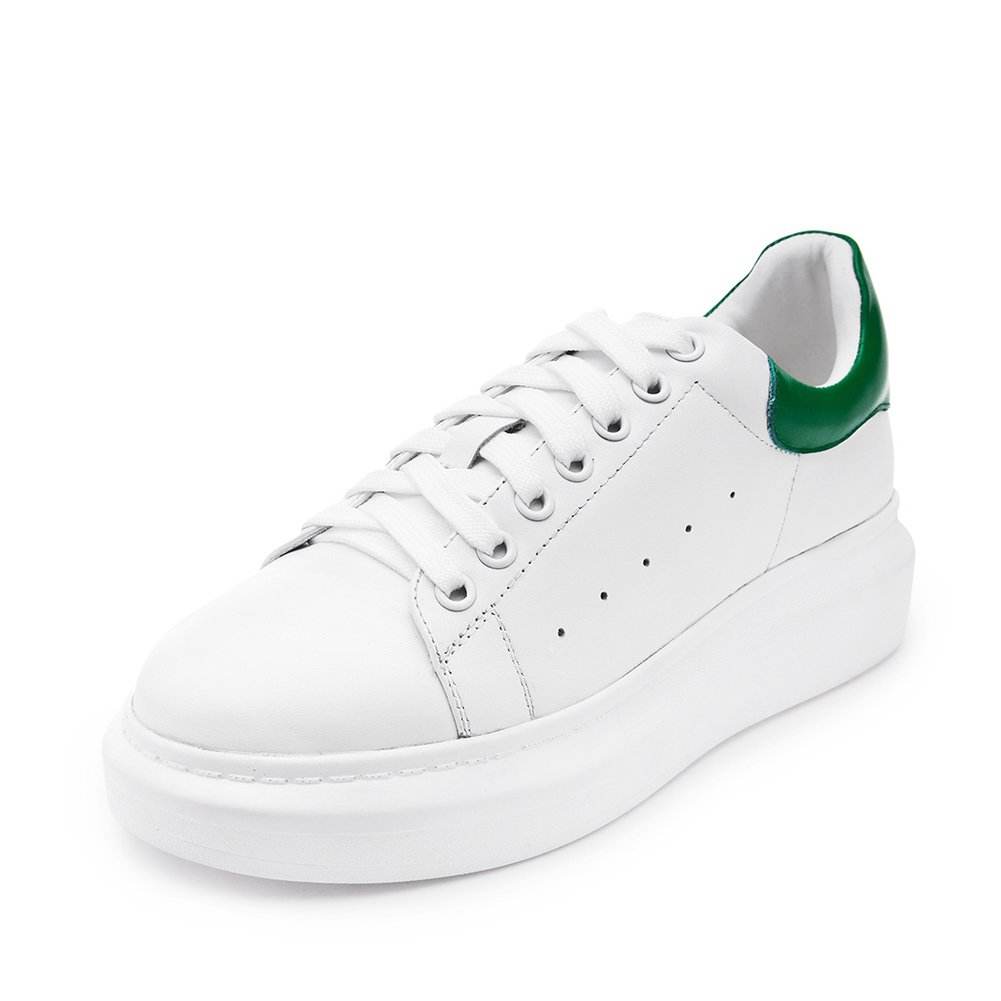 Shenn Women's Informal WildLeather Sneakers Shoes 9289(White&Green,us8)