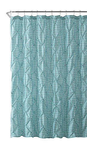 VCNY Home Fabric Shower Curtain: Farmhouse Gingham with Pintuck Design (Turquoise and White)
