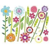 Wallies Wall Decals, Green Garden Flower Wall Stickers