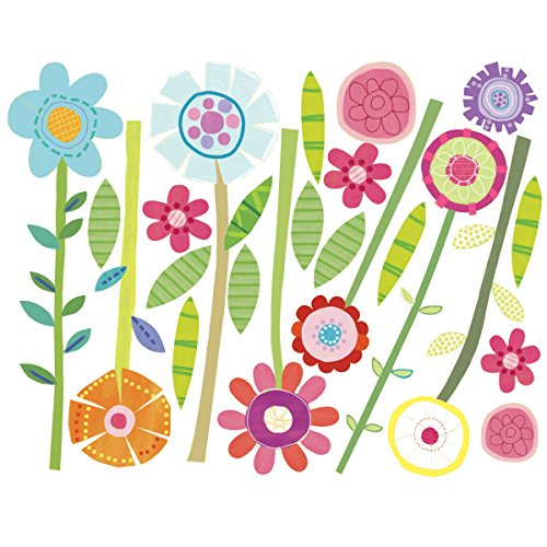 Price comparison product image Wallies Wall Decals,  Green Garden Flower Wall Stickers