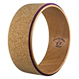 "Yoga wheel- strong and sturdy premium quality, most comfortable wooden cork design for improving backbend and stretching, get a yoga strap with every purchase by free flowing minds, 13"" x 5.25"""