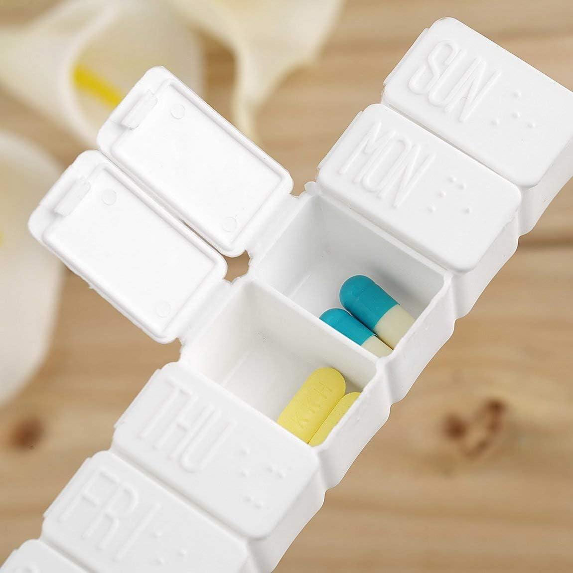 SeniorMar 1pc Una semana 7 d/ías Pastilla de medicina peque/ña Caja de medicamento Pastilla de medicamento Mini contenedor de pastillero Soporte de caja de pl/ástico no extra/íble