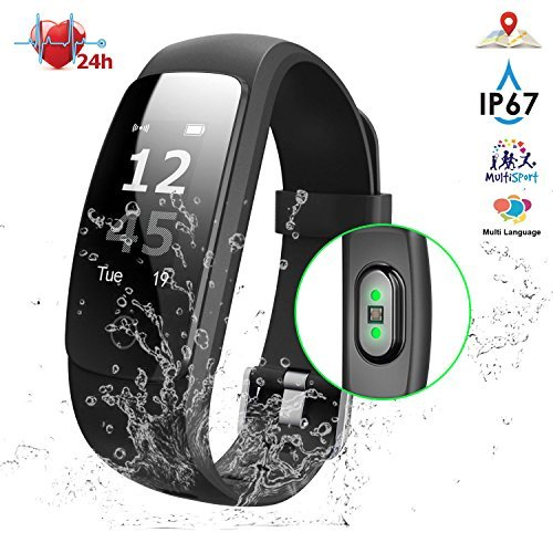 Fitness Tracker with Heart Rate, NPET IP67 Waterproof Smart Activity Tracker, Full Touch Screen Watch, Message Notification/Steps Counter/Sleep Monitor/Connected GPS Wristband