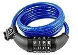 Wordlock CL-409-BL 4-Letter Combination Bike Lock Cable, Blue, 5-Feet