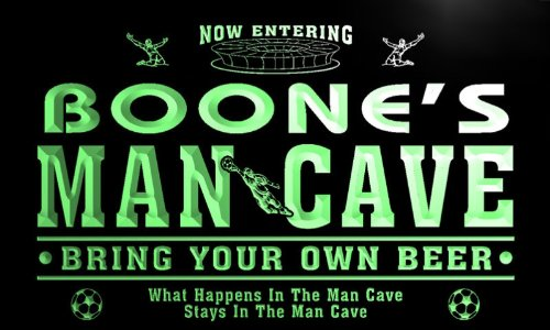 qd1480-g BOONE's Man Cave Soccer Football Bar Neon Beer Sign by AdvPro Name