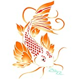Koi Stencil - 8 x 11.5 inch (L) - Reusable Asian Oriental Carp Fish Animal Pond Wall Stencil Template - Use on Paper Projects Scrapbook Bullet Journal Walls Floors Fabric Furniture Glass Wood etc.