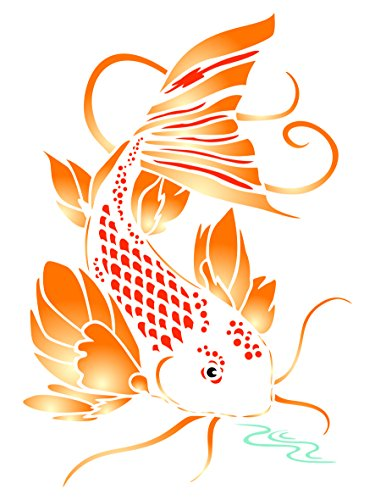 Koi Stencil - 4.5 x 6.5 inch (S) - Reusable Asian Oriental Carp Fish Animal Pond Wall Stencil Template - Use on Paper Projects Scrapbook Journal Walls Floors Fabric Furniture Glass Wood etc. (Koi Stencil)