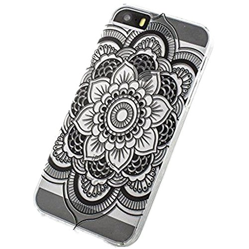ALLUCKY Black Henna Full Mandala Tribal Hard Plastic Clear Case Cover for Iphone 5 5s - Henna Phone Cases Iphone 5s