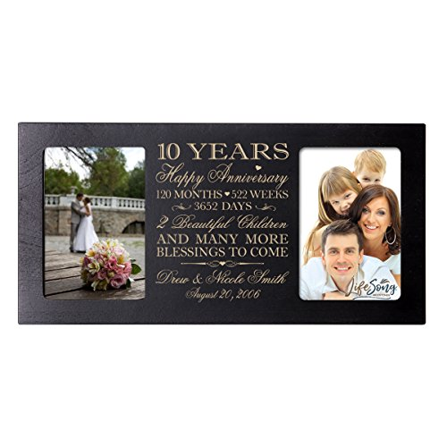Personalized ten year anniversary gift her him couple Custom Engraved wedding celebration for Husband wife girlfriend boyfriend photo frame holds two 4x6 photos by LifeSong Milestones (Black) by LifeSong Milestones