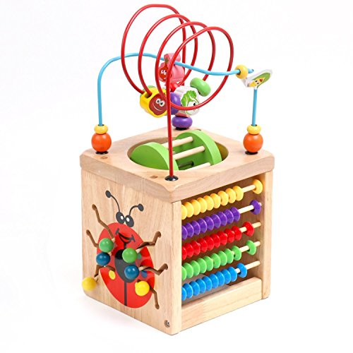 6 in 1 Wooden Activity Cube Bead Maze Multipurpose Educational Toy Wood Shape Color Sorter for Baby's & (1 Learning Activity Cube)