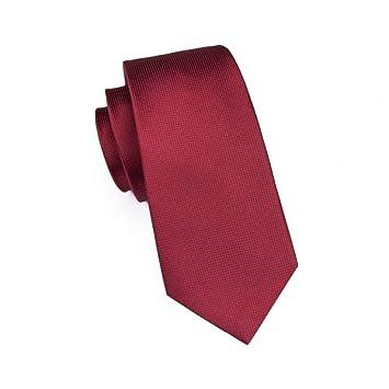 KYDCB Nuevo Clásico Sólido Rojo Oscuro Único Lazo Corbatas de Seda ...