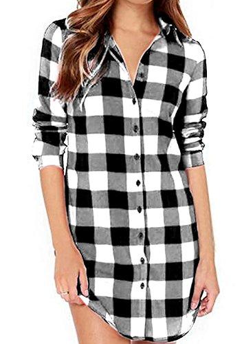 Jubileens Women's Mid-Long Style Roll-Up Sleeve Plaid Boyfriend Top T-Shirt Blouse (L, White)