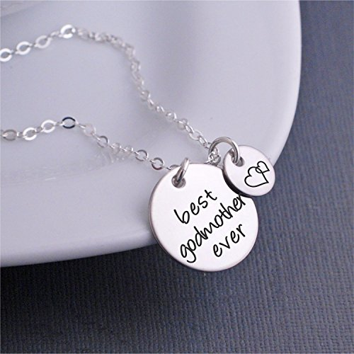 Heart Godmother (Silver Best Godmother Ever Necklace, Godmother Jewelry Gift with Heart Charm, Mother's Day Gift for Godmother)