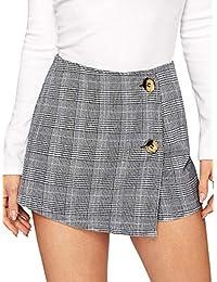 WDIRARA - Falda asimétrica para Mujer con Ribete de Contraste, Cintura Media y Nudo Lateral, Gris, XL