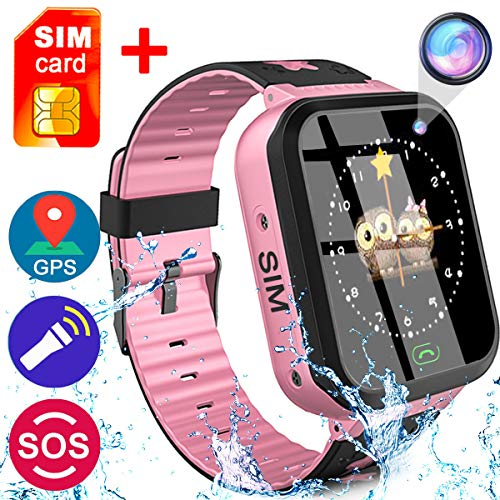 [SIM Card Included] Smart Watch for Girls Boys- GPS Locator Pedometer Fitness Tracker Touch Camera Games Light Touch Anti Lost Alarm Clock Smart Watch Bracelet (03 Pink-IP68 Waterproof)