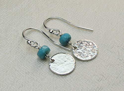 - Turquoise Earrings for Women Sterling Silver Hammered Disc Earrings Bridesmaid Gift for Her December Birthstone Jewelry