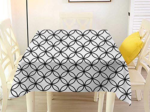 L'sWOW Spotted Square Tablecloth Geometric Circle Minimalist Monochrome Interlace Circle Pattern Modules Abstract Style Black White Clamps 36 x 36 Inch