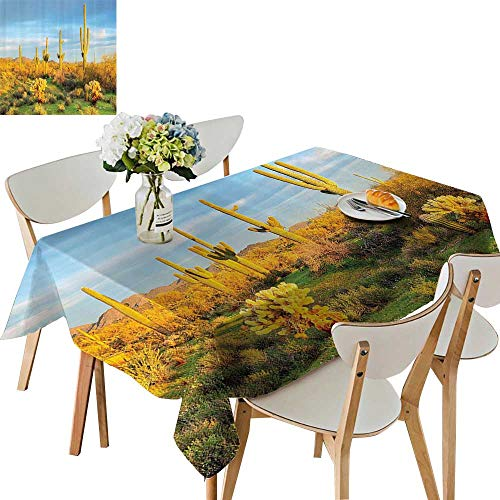 UHOO2018 Square/Rectangle Polyesters Tablecloth Sun in Soran Desert Blooming Cactus Spring Time Vegetati ery Wedding Party,54 -
