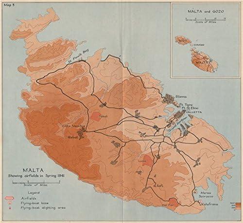 Amazon.com: Siege of Malta. Malta Showing airfields in ...
