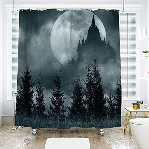 scocici DIY Bathroom Curtain Personality Privacy Convenience,Halloween,Magic Castle Silhouette Over Full Moon Night Fantasy Landscape Scary Forest,Grey Pale Grey,78.7