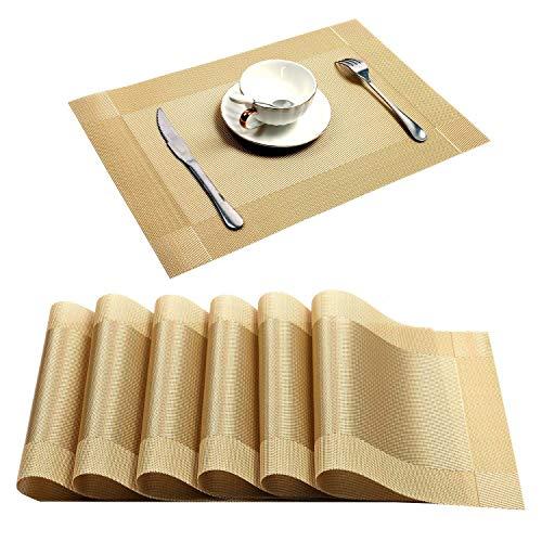 U'Artlines Placemat, Crossweave Woven Vinyl Non-Slip Insulation Placemat Washable Table Mats (Gold, 6pcs placemats) ()