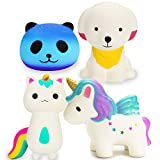 R ? HORSE Cute Rainbow Unicorn, Galaxy Panda, Unicorn Fox, Puppy Dog Set Kawaii Cream Scented Squishies Slow Rising Decompression Squeeze Toys for Kids or Stress Relief Toy Large (4 Pack)