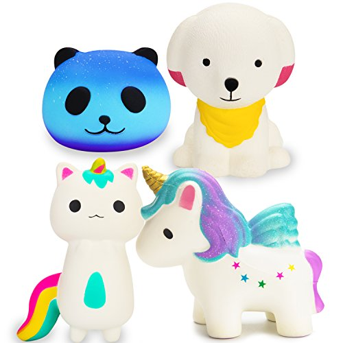 R ? HORSE Cute Rainbow Unicorn, Galaxy Panda, Unicorn Fox, Puppy Dog Set Kawaii Cream Scented Squishies Slow Rising Decompression Squeeze Toys for Kids or Stress Relief Toy Large (4 Pack) by R.HORSE