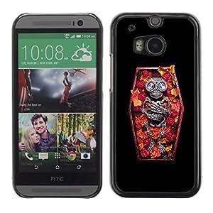 Shell-Star Arte & diseño plástico duro Fundas Cover Cubre Hard Case Cover para HTC One M8 ( Casket Vampire Floral Spring Skeleton )