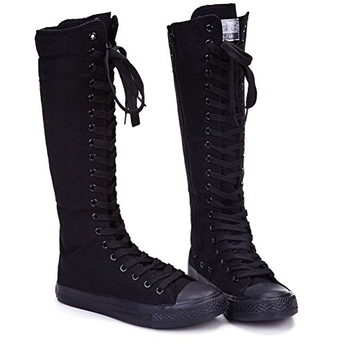 NEWCOSPLAY Women's Lace up Tall Punk Dancing Canvas Boots (US11, Black 801)