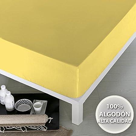 NATURALS Sábana Bajera Ajustable 100% ALGODÓN Liso 90 cm Amarillo: Amazon.es: Hogar