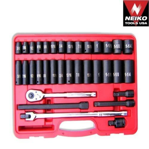 34pc-1-2-dr-impact-socket-set-ratchet-wrench-sae-pro-auto-shop-tool-neiko