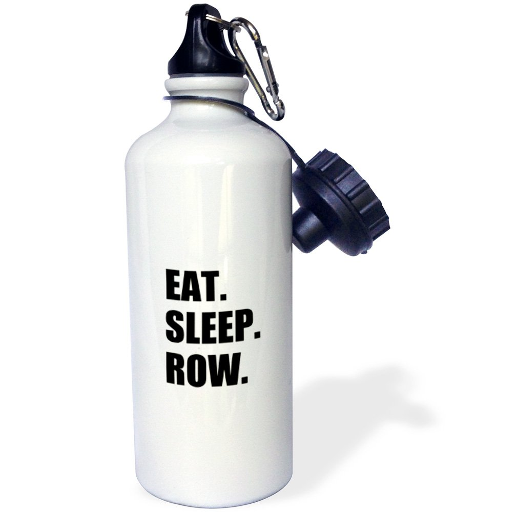 3dRose wb_180434_1 Eat Sleep Row - Fun Gift For Rowing Enthusiasts Rower Sport Black Text Sports Water Bottle, Multicolor, 21 oz