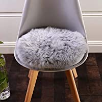 Cuteshower Round Faux Fur Sheepskin Rugs Soft Plush seat Chair Cover For Chair Living & Bedroom Sofa Grey 19.7 x 19.7