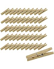 7Penn Wood Clothes Pin 50-Pack Bulk Set - Wooden Clothespins for Pictures, Laundry, Etc - Clothesline Clips, Craft Pins