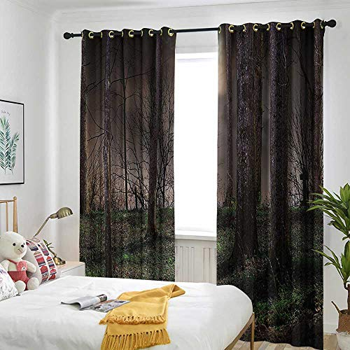 Gothic Decor Collection Grommet Curtain Dark Night in The Forest with Full Moon Horror Theme Grunge Style Halloween Photo Draft Blocking Draperies 84