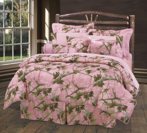 HiEnd Accents Oak Camo Sheet Set, Full, (Collection Neckroll Bed Pillow)